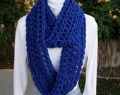 INFINITY SCARF Loop Cowl Bright Royal Solid Blue, Extra Soft Thick Crochet Knit Winter Endless Circle, Neck Warmer..Ready to Ship in 2 Days