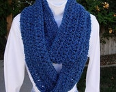 COWL SCARF Infinity Loop Medium Dark Solid Blue, Extra Soft Long Crochet Lightweight Winter Eternity Circle Endless..Ready to Ship in 3 Days