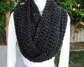 INFINITY SCARF Loop Cowl Black Dark Gray Grey Tweed Super Soft Bulky Crochet Knit Winter Circle Wrap, Neck Warmer..Ready to Ship in 3 Days