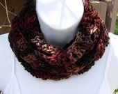 SUMMER SCARF Infinity Loop Cowl, Brown, Rust, Tan Dark Multicolor, Lightweight Small Crochet Knit, Circle Skinny, Ready to Ship in 2 Days