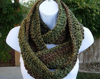 INFINITY SCARF Cowl Loop Long Dark Green Red Brown Gold Soft Acrylic Winter Crochet Knit Eternity Circle Wrap..Ready to Ship in 2 Days