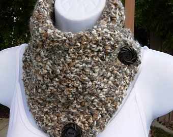 NECK WARMER SCARF Large Buttoned Cowl, Off White Grey Gray Brown Tan Tweed, Soft Crochet Knit, Winter, Wood Buttons..Ready to Ship in 2 Days