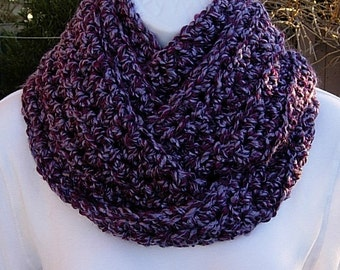 COWL SCARF Infinity Loop Light & Dark Purple Extra Soft Bulky Thick Winter Endless Crochet Knit Circle, Neck Warmer..Ready to Ship in 2 Days