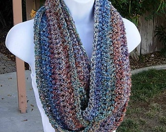 INFINITY SCARF Cowl Loop, Rust Blue Gold Red Teal Green, Extra Soft Rainbow MultiColor Winter Eternity Endless Wrap..Ready to Ship in 2 Days