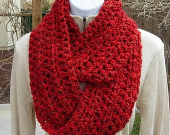 INFINITY SCARF Loop Cowl Vibrant Red with Gold, Soft Lightweight Thick Crochet Knit Winter Circle, Neck Warmer..Ready to Ship in 3 Days