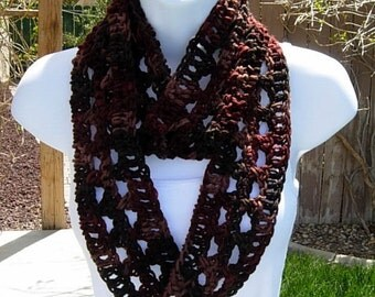 SUMMER SCARF Infinity Loop Cowl, Brown, Rust, Tan Dark Multicolor Lightweight Small Skinny Circle, Crochet Knit..Ready to Ship in 2 Days