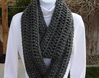 INFINITY SCARF Loop Cowl Solid Charcoal Grey Gray Extra Soft Crochet Knit Warm Long Winter Circle Wrap, Neck Warmer..Ready to Ship in 2 Days