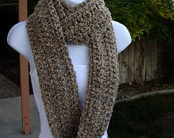 COWL SCARF Infinity Loop, Tan Beige Off White Gray Grey, Soft Long Crochet Knit Winter Endless Circle, Neck Warmer..Ready to Ship in 2 Days