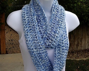 INFINITY SCARF Loop Cowl Small Size Blue & White Multicolor, Soft Crochet Knit Skinny Circle, Winter Neck Warmer..Ready to Ship in 2 Days