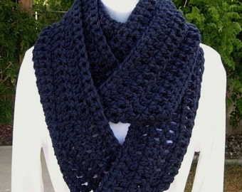 INFINITY SCARF Loop Cowl Dark Solid Navy Blue, Color Choices, Extra Soft Long Winter Crochet Knit Endless Circle..Ready to Ship in 3 Days
