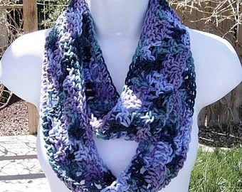 SUMMER INFINITY SCARF Cowl Loop, Purple Teal Blue Green, Soft Lightweight Crochet Knit Endless Circle, Neck Warmer..Ready to Ship in 2 Days