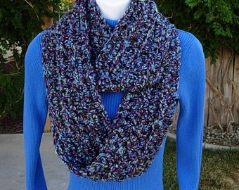 Women's COWL SCARF Infinity Loop, Blue, Purple, Black Chunky Soft Thick Acrylic Crochet Knit Eternity Circle Winter..Ready to Ship in 2 Days