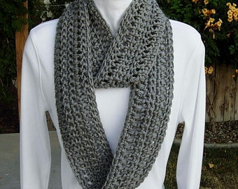 Grey Cowl SCARF Infinity Loop Solid Heather Medium Gray, COLOR OPTIONS Soft Acrylic Lightweight Crochet Knit Circle, Ready to Ship in 3 Days