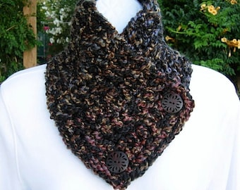 NECK WARMER SCARF Black Brown Tan Teal Blue Red Soft Thick Warm Handmade Crochet Knit Buttoned Cowl, Wood Buttons..Ready to Ship in 3 Days