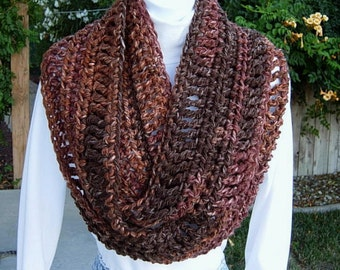 INFINITY SCARF Loop Cowl Dark & Light Brown Extra Soft Long Bulky 100% Acrylic Crochet Knit Winter Circle Wrap..Ready to Ship in 2 Days