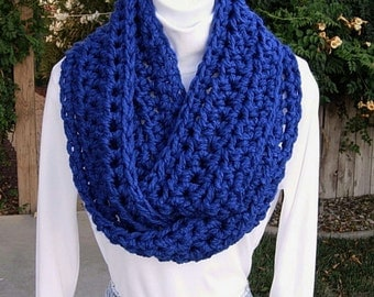 INFINITY SCARF Loop Cowl Bright Solid Blue, Color Options, Extra Soft Bulky Acrylic Crochet Knit Winter Circle Wrap..Ready to Ship in 2 Days