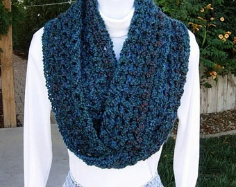 COWL SCARF Skinny Winter Infinity Loop Dark Teal Blue Green Red, Extra Thick Soft Smooth Warm, Long Endless Circle ..Ready to Ship in 2 Days