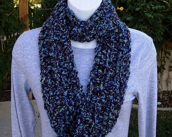 "Small INFINITY LOOP Cowl SCARF, Blue, Purple, Black Lightweight Crochet Knit Winter Skinny, Neck Warmer, 52""x4""..Ready to Ship in 2 Days"