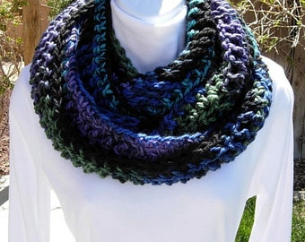INFINITY SCARF Loop Cowl Black Turquoise Blue Green Purple Soft 100% Acrylic Long Crochet Knit Winter Circle Wrap..Ready to Ship in 3 Days