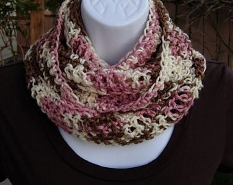 SUMMER SCARF Infinity Loop Cowl, Light Pink, Brown, Cream Multicolor, Soft Lightweight Crochet Knit Neck Warmer..Ready to Ship in 2 Days