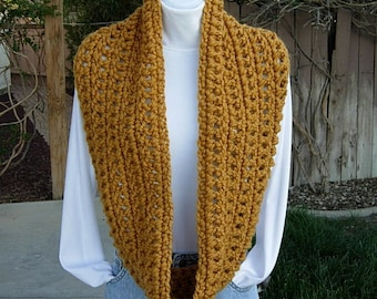 INFINITY LOOP SCARF Mustard, Gold, Dark Yellow Extra Soft Bulky Chunky Wool Acrylic Blend Winter Cowl Loop Snood..Ready to Ship in 2 Days