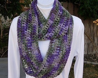 INFINITY SCARF Loop Cowl, Purple Lilac Sage Green Multicolor, Extra Soft Lightweight Crochet Knit Eternity Circle..Ready to Ship in 3 Days