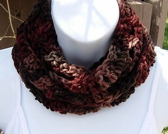 SUMMER SCARF Women's Infinity Loop Cowl Dark Brown Rust Tan Lightweight Small Crochet Knit Circle Skinny Neck Scarf, Ready to Ship in 2 Days