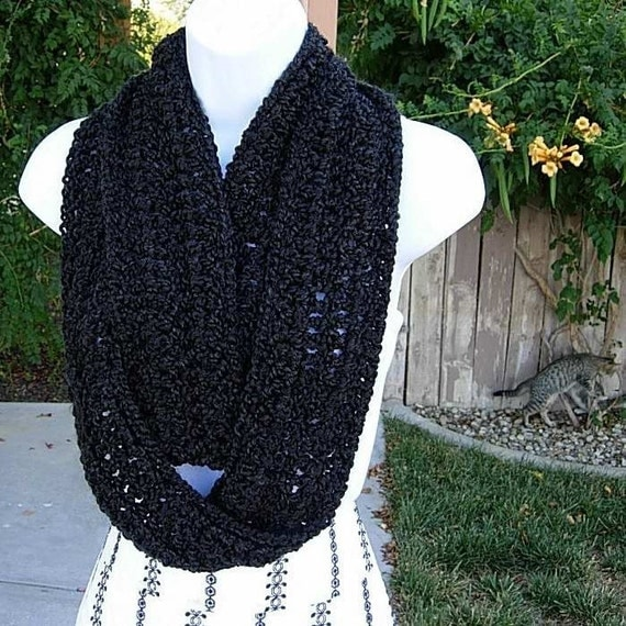 INFINITY SCARF..Super-Soft..Warm..Cozy..Silky..Black Winter Neck Scarf..Cowl..Neck Warmer..Circle Loop Eternity Style..Made with High Quality Homespun Yarn..Handmade by MicheleMade on Etsy..Ready to Ship In 1 To 3 Days
