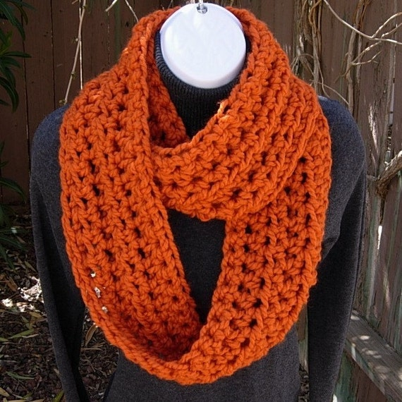 INFINITY LOOP SCARF..Pumpkin Solid Orange..Bulky..Soft..Wool/Acrylic Blend..Winter Circle Eternity Cowl Neck Warmer..Ready to Ship in 2 Days