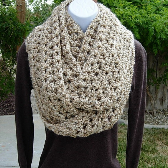 INFINITY LOOP SCARF..Beige Light Tan..Double Thickness..Extra Long..Super-Soft..Silky..Bulky Winter Circle Cowl...Ready to Ship in 4 Days