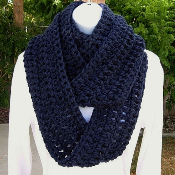 INFINITY LOOP SCARF..Dark Solid Navy Blue..Super-Soft, Warm All-In-One Cowl, Neck Warmer, Long Winter Scarf..Ready to Ship in 2 Days