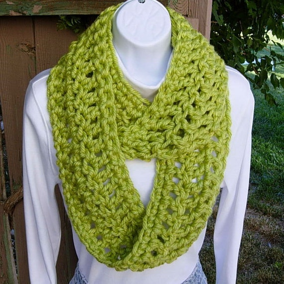 INFINITY LOOP SCARF  Monterey Lime Light Green..Super-Soft..Bulky..Handmade Crochet Knit Winter Cowl, Neck Warmer..Ready to Ship in 3 Days