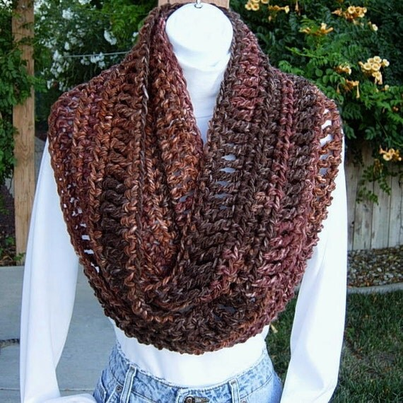 INFINITY LOOP SCARF..Shades of Brown..Super-Soft Bulky 100% Acrylic..Crochet Knit Winter Circle Eternity Ring Cowl..Ready to Ship in 7 Days