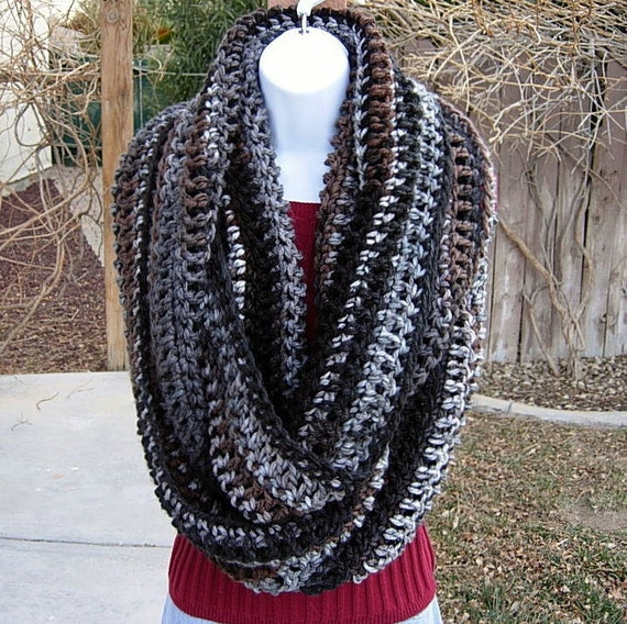 """INFINITY LOOP SCARF..Extra Large..86"""" x 12.5""""..Black, Gray, White, Brown Striped..Super-Soft..Long Winter Cowl..Ready to Ship in 2 to 4 Days"""