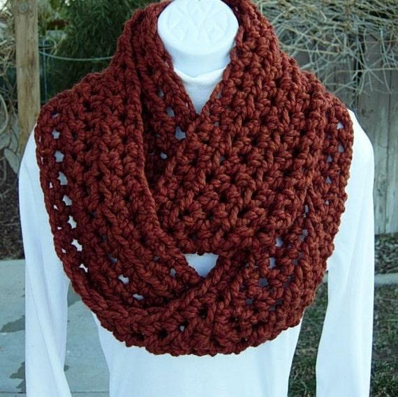 INFINITY COWL SCARF..Dark Burnt Orange Rust Spice..Wool/Acrylic Blend.. Bulky Crochet Knit Winter Eternity Loop, Neck Warmer..Ready to Ship