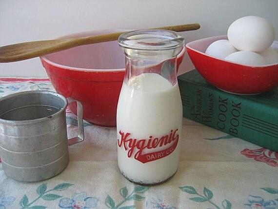 Estate Sale Fresh - Hygienic Dairy - One Half Pint Milk Bottle - Red Pyro - Crisp and Clean - Watertown New York
