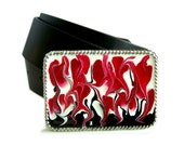 Belt Buckle Hand Painted Silver Large Buckle Red Black and White for Snap Belts with a Glossy Enamel Finish