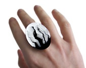 Adjustable Statement Ring Extra Large Oval Hand Painted Black and White Glacier Inspired with a Glossy Enamel Finish