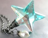 NORTH POLE Star Necklace, RARE Swarovski Antique Aqua Teal Green Crystal, Sterling Silver