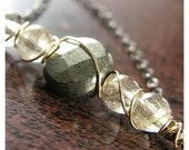 Pyrite Gemstone Necklace Rutilated Quartz Necklace Oxidized Sterling Silver 14K Gold Filled Natural Stone Necklace