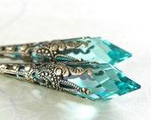 Aqua Green Earrings Swarovski Crystal Aquamarine Earrings Antique Gold Earrings Victorian Teardrop Seafoam Earrings Long Drop Earrings