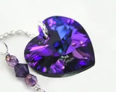 Purple Swarovski Heart Necklace Sterling Silver Dark Purple Crystal Heart Necklace Plum Purple Heart Pendant Necklace