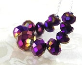 Iris Purple Necklace Sterling Silver Dark Purple Crystal Necklace Iridescent Violet Plum Grape Purple Necklace