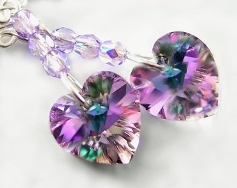 Purple Pink Heart Earrings Sterling Silver Earrings Swarovski Amethyst Vitrail Crystal Heart Drop Earrings  Valentines Day