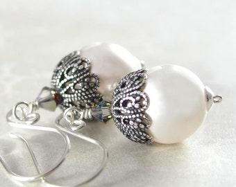 White Pearl Earrings Swarovski White Crystal Pearl Earrings Sterling Silver Antique Silver Filigree Earrings