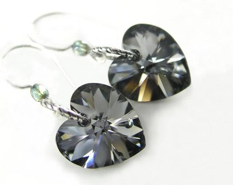 Platinum Gray Heart Earrings Aurora Swarovski Dark Grey Crystal Heart Dangle Earrings Satin Grey Heart Earrings