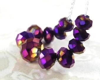 Iris Purple Necklace Sterling Silver Dark Purple Crystal Necklace Iridescent Violet Plum Grape Purple Necklace