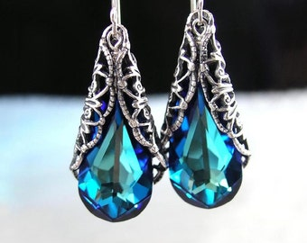 Ocean Blue Earrings, Swarovski Earrings, Blue Crystal Earrings, Blue Teardrop, Antique Silver Earrings Teal Green Blue Drop Dangle Earrings