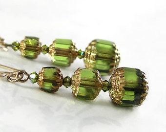 Olive Green Earrings Vintage Style Antique Gold Earrings Swarovski Crystal Czech Glass Earrings Moss Green Dangle Drop Earrings