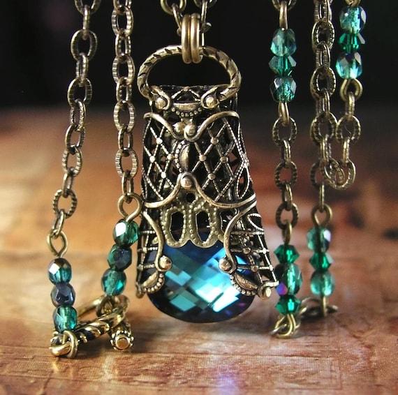 Emerald Blue Necklace Swarovski Green Aqua Crystal Antiqued Gold Handmade Filigree